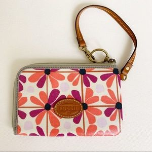Fossil Coated Canvas Floral Leather Strap Wristlet